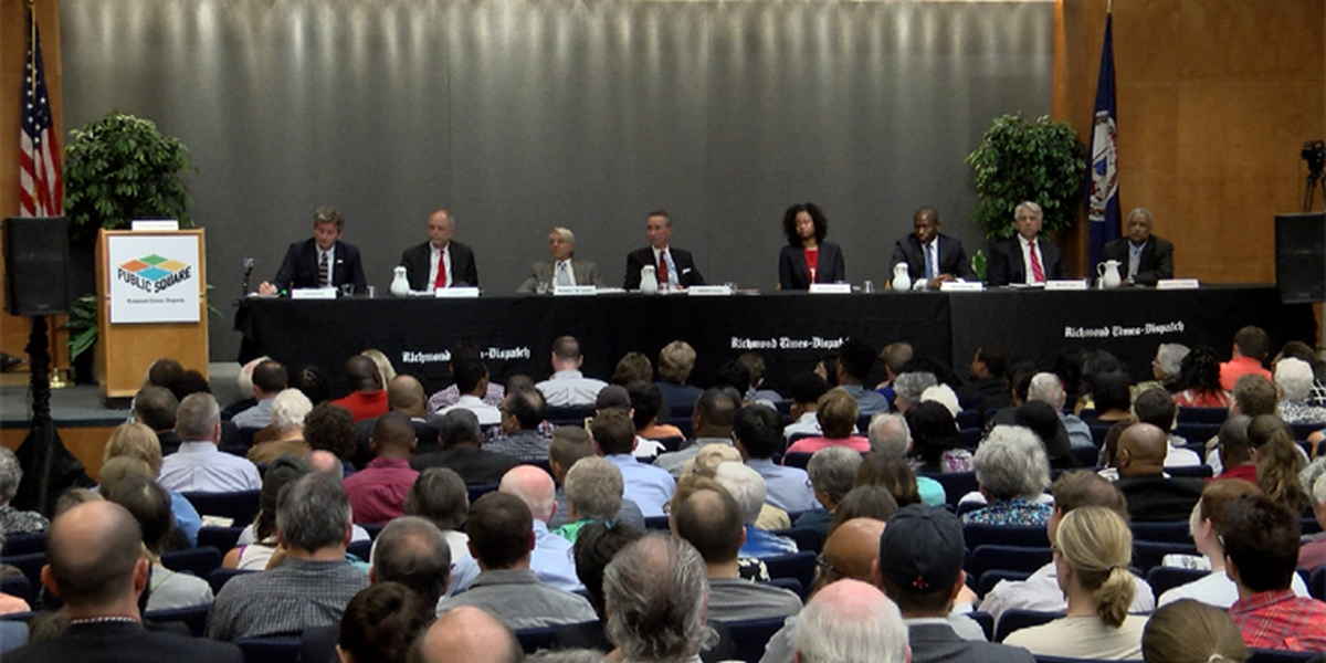 Battle royale at Richmond mayoral debate; eight candidates crowd stage