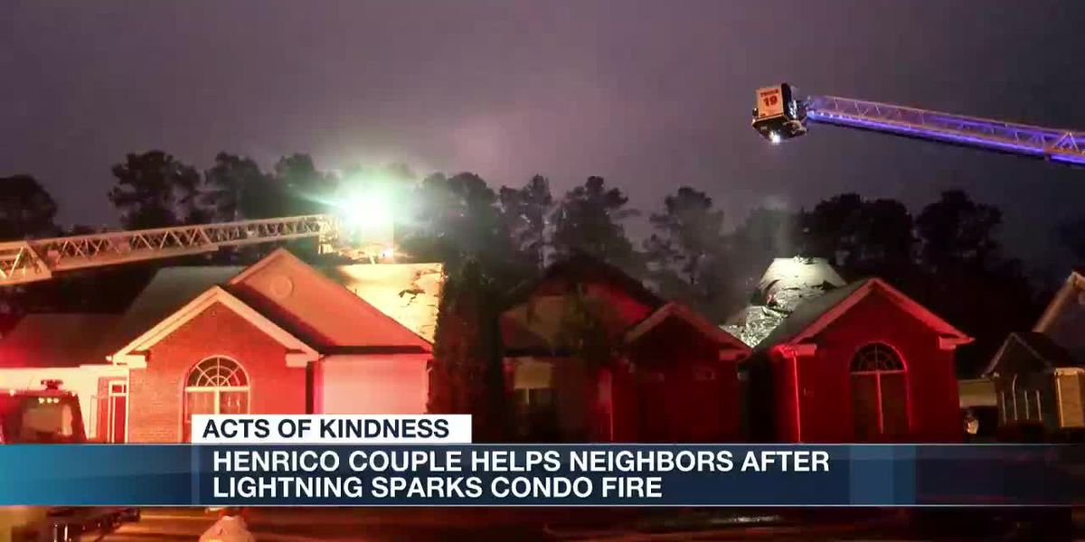 Henrico couple helps neighbors after lightning sparks condo fire