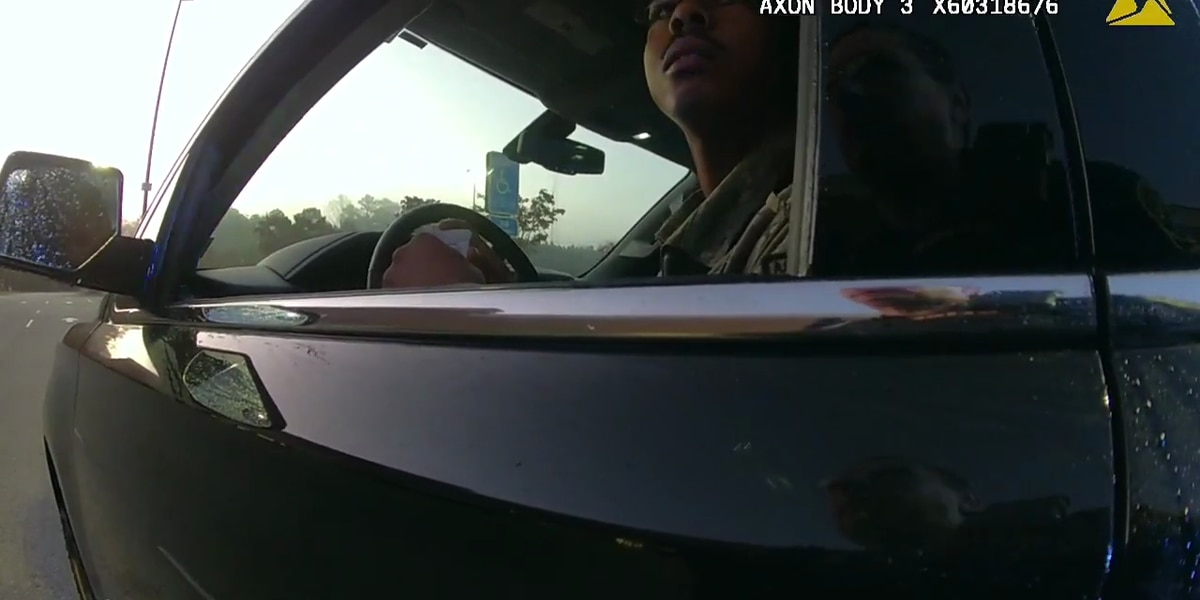Video shows earlier traffic stop of soldier in Virginia town
