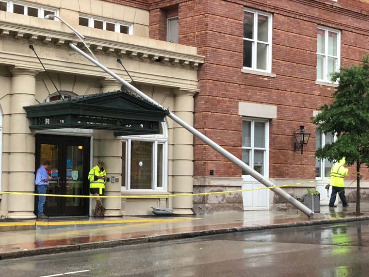 Light pole falls on Barbara Johns Building
