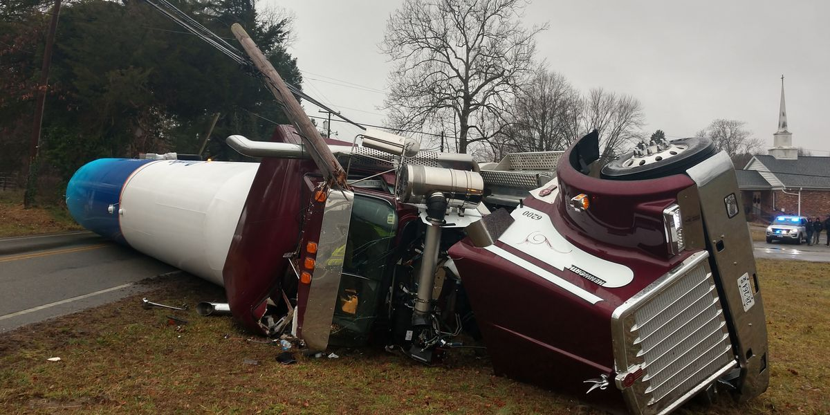 Tanker carrying liquid propane overturns