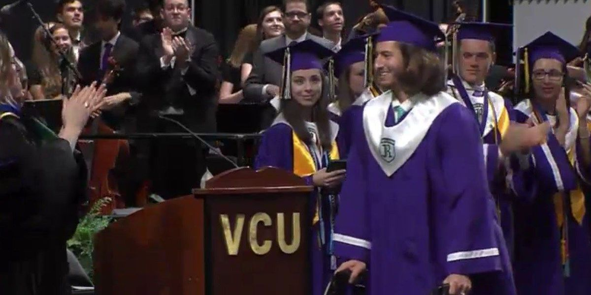 Chesterfield student who was struck by car walks across graduation stage