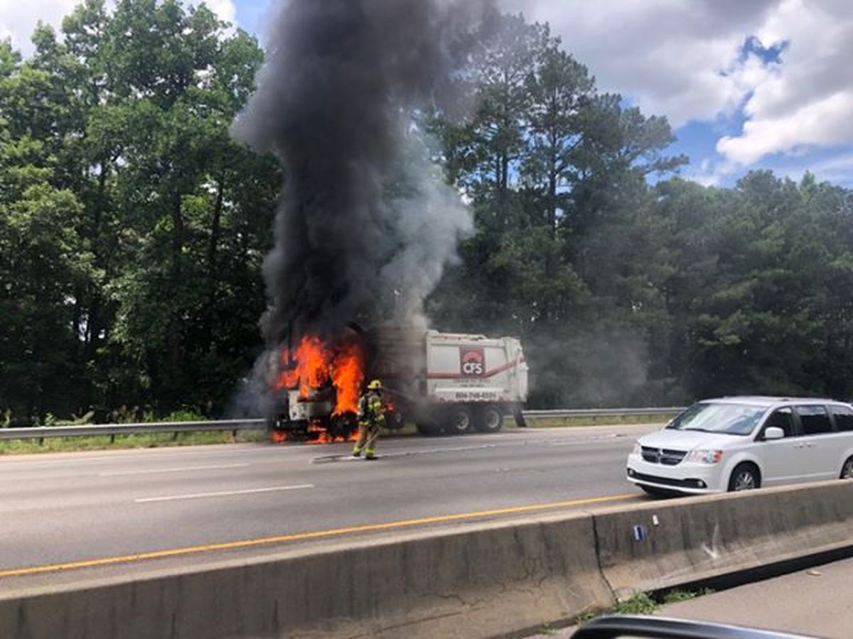 Trash truck catches fire on I-95