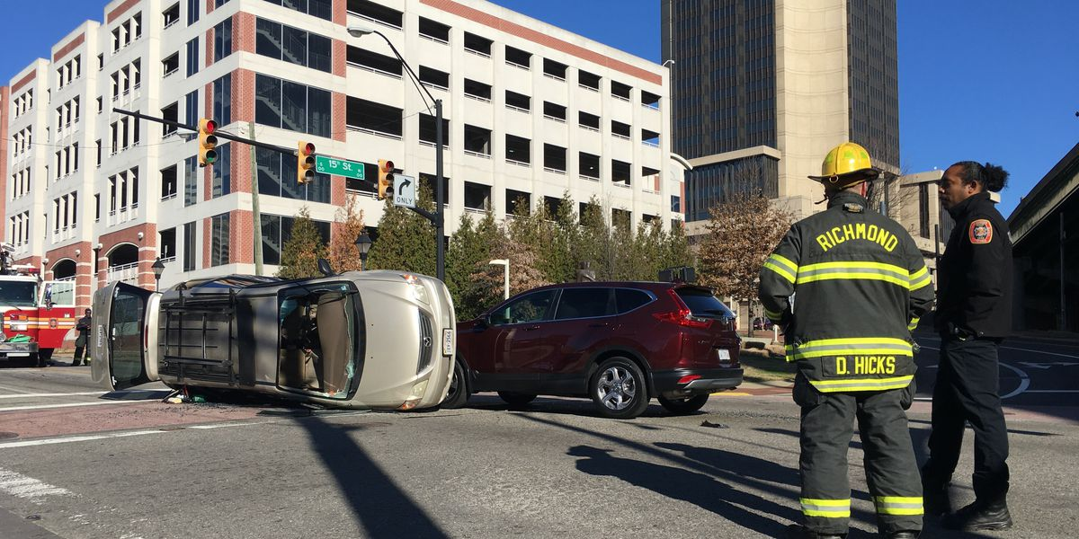 Crash ends with van on its side in downtown Richmond