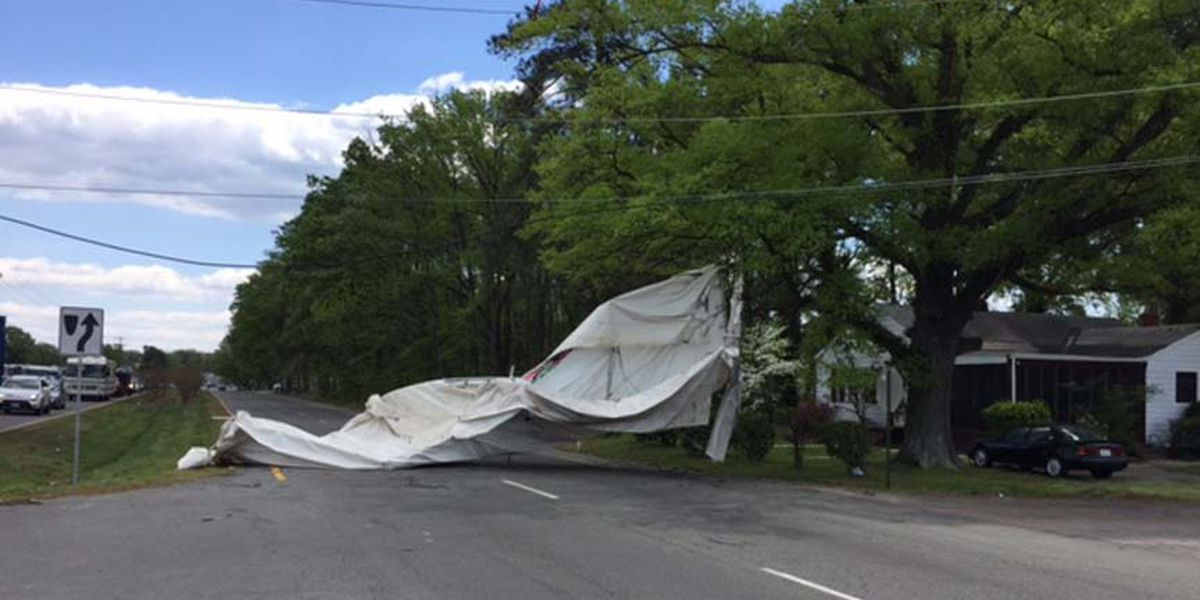 Canopy strikes person, power lines after high winds at RIR
