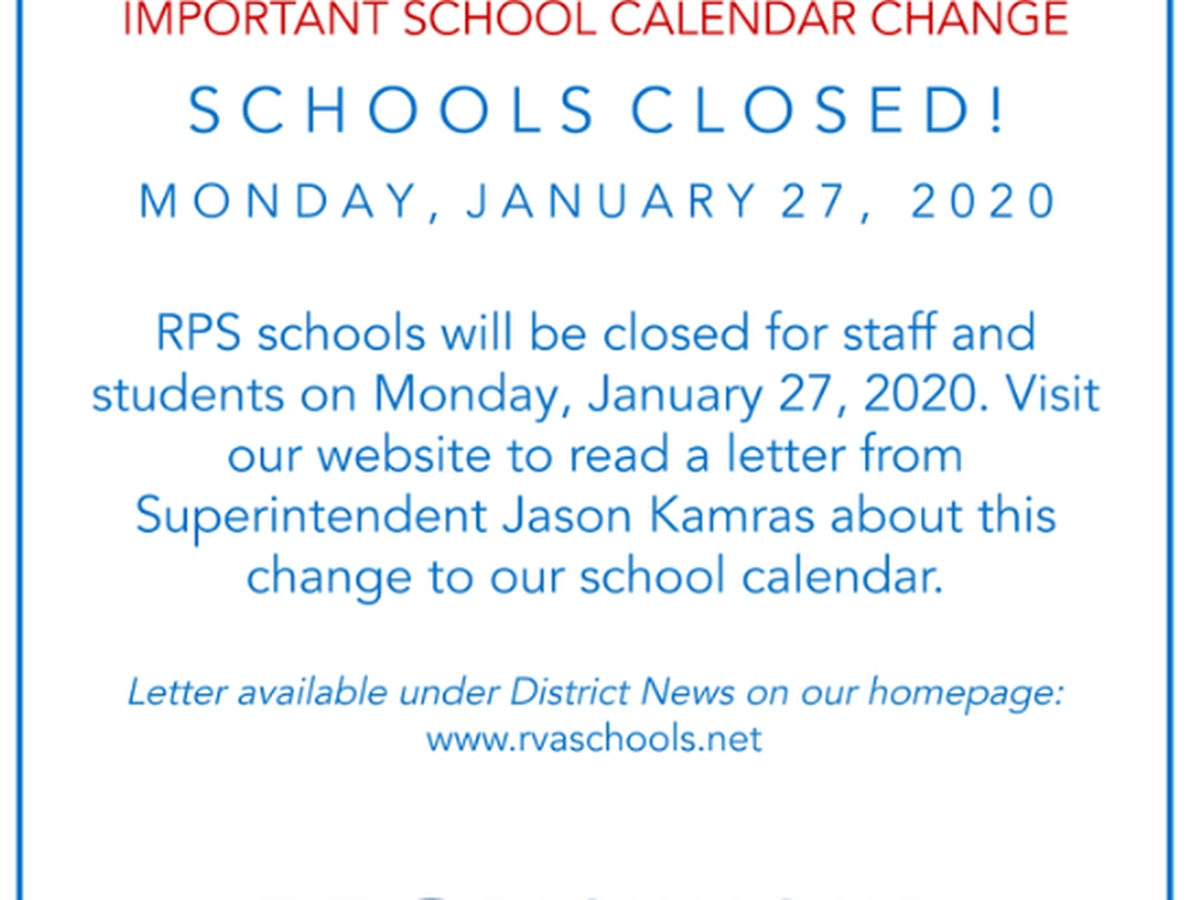 Richmond Public Schools will be closed on Monday, Jan. 27 after teachers request off to attend 'Fund Our Future' rally
