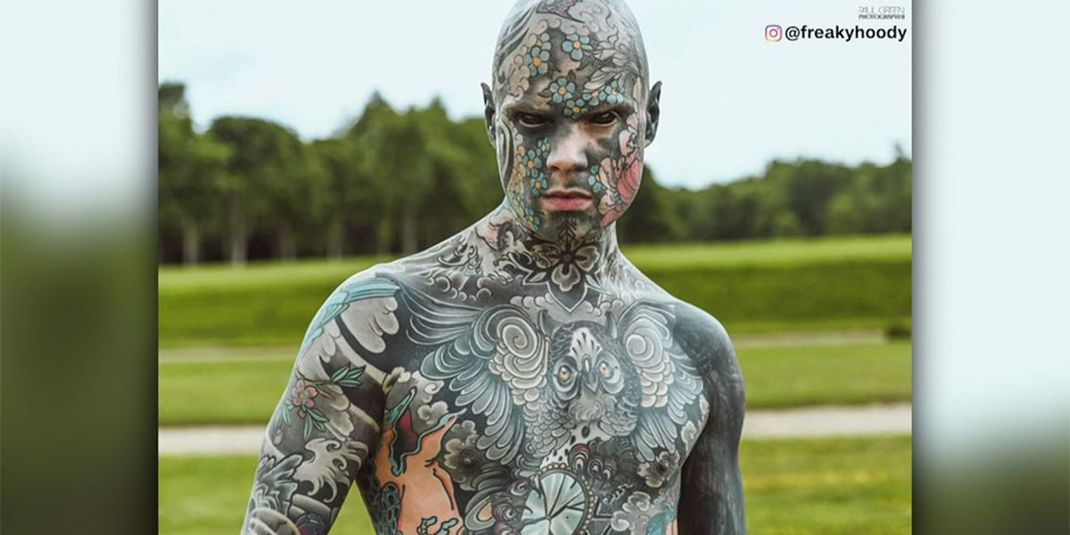 French elementary school teacher is covered in tattoos – even his eyes