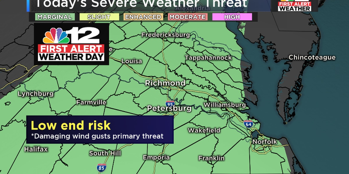 First Alert Weather Day: Severe storms possible; heat advisory for parts of Va.