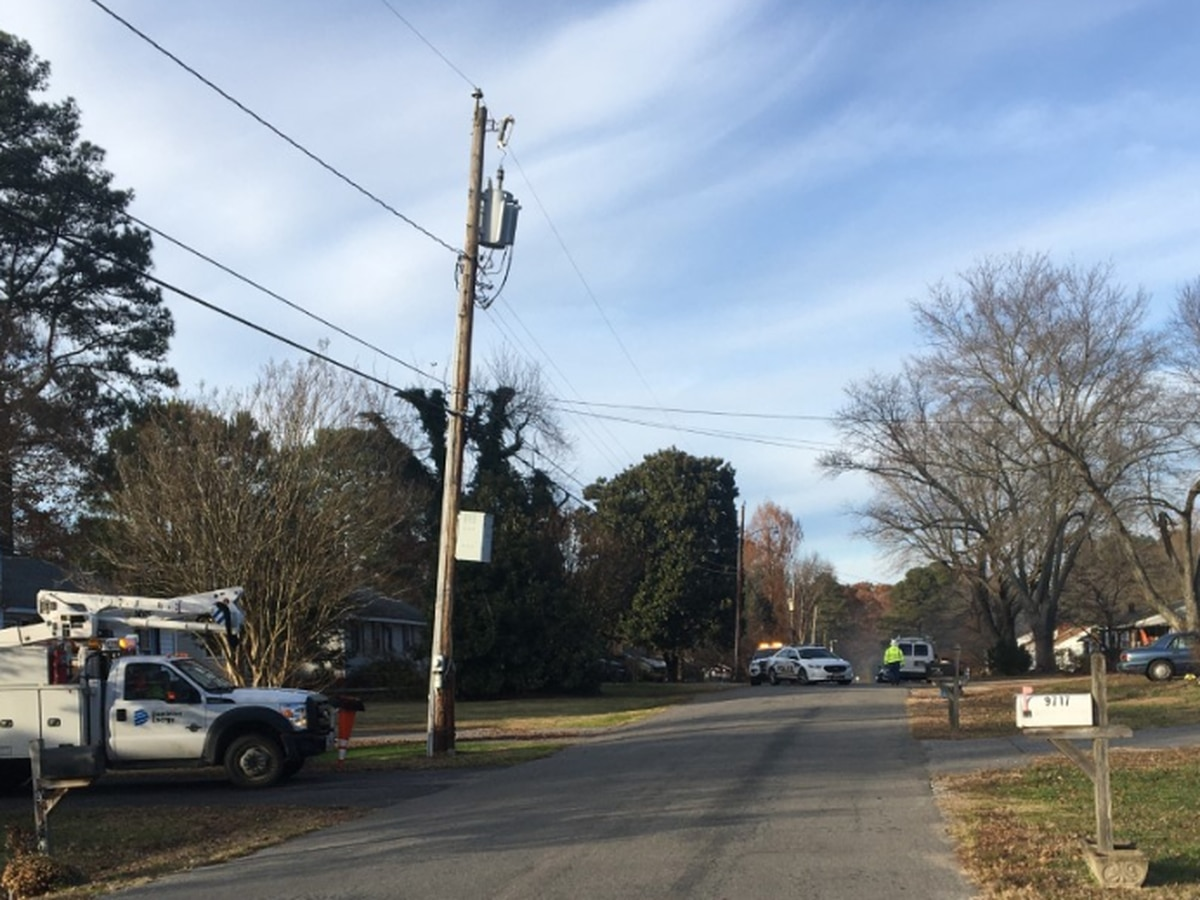 Road in Chesterfield closed due to downed power lines