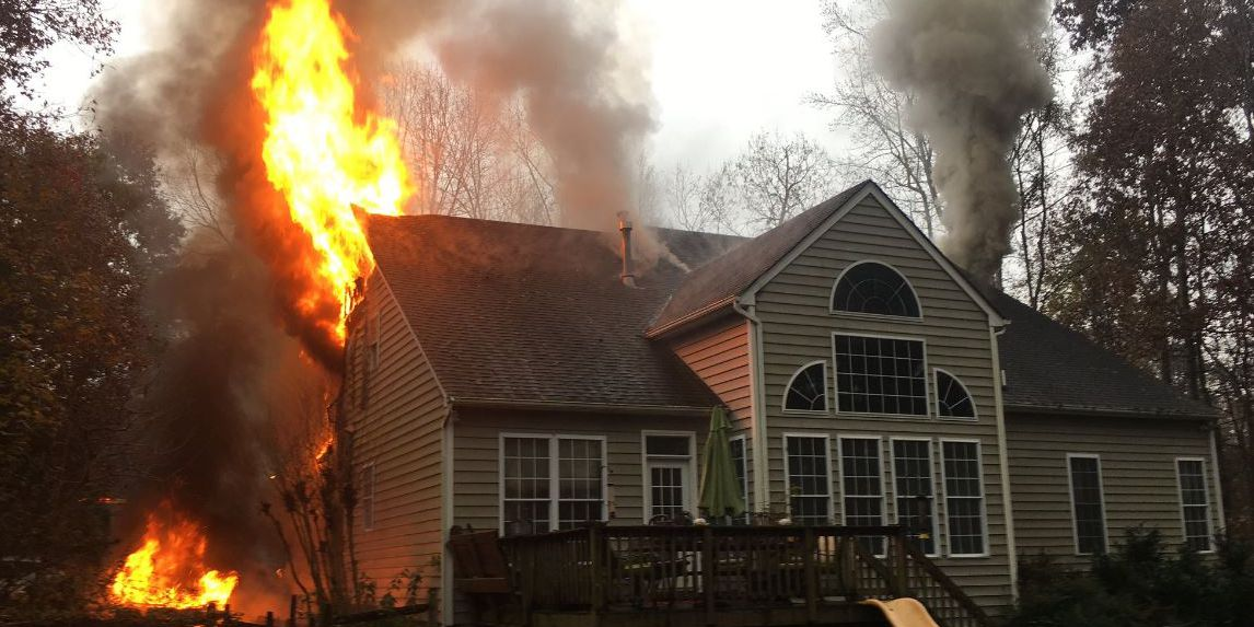 Flames engulf Chesterfield home Monday morning