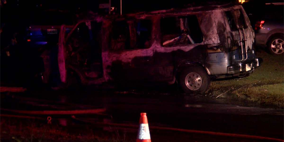 Van goes up in flames in Chesterfield