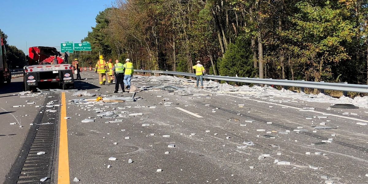 Marble slab falls from tractor-trailer truck, closes lanes of I-64