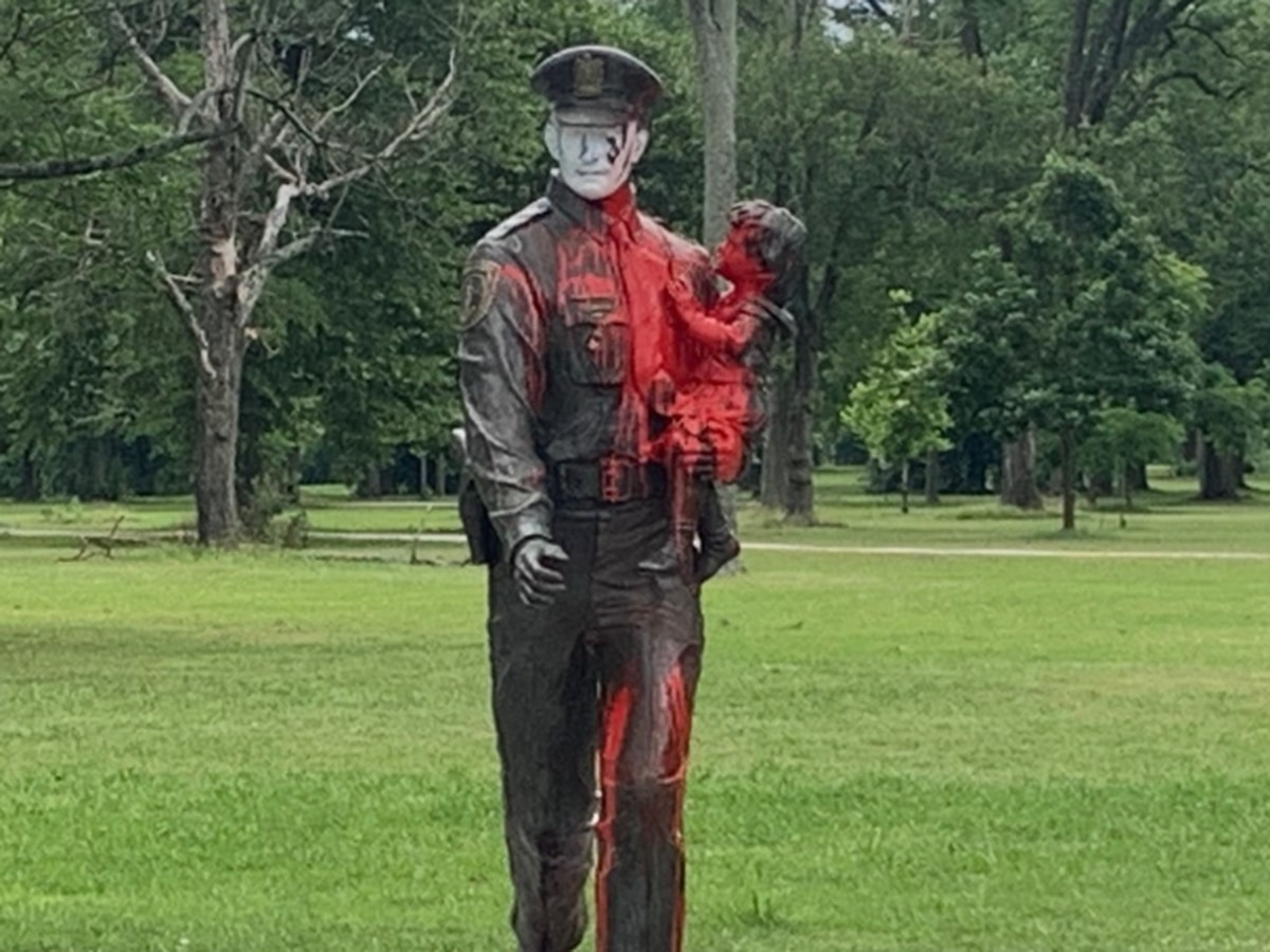 Fallen police memorial among statues damaged during Richmond protests