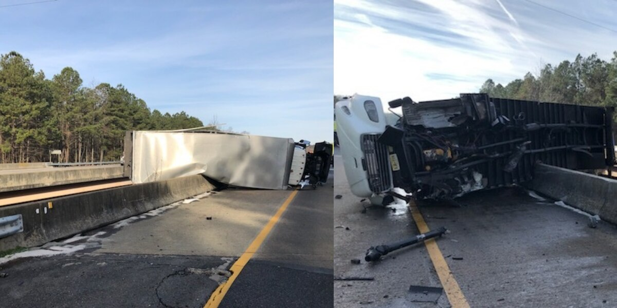 Tractor-trailer crash on interstate overpass sends woman to hospital