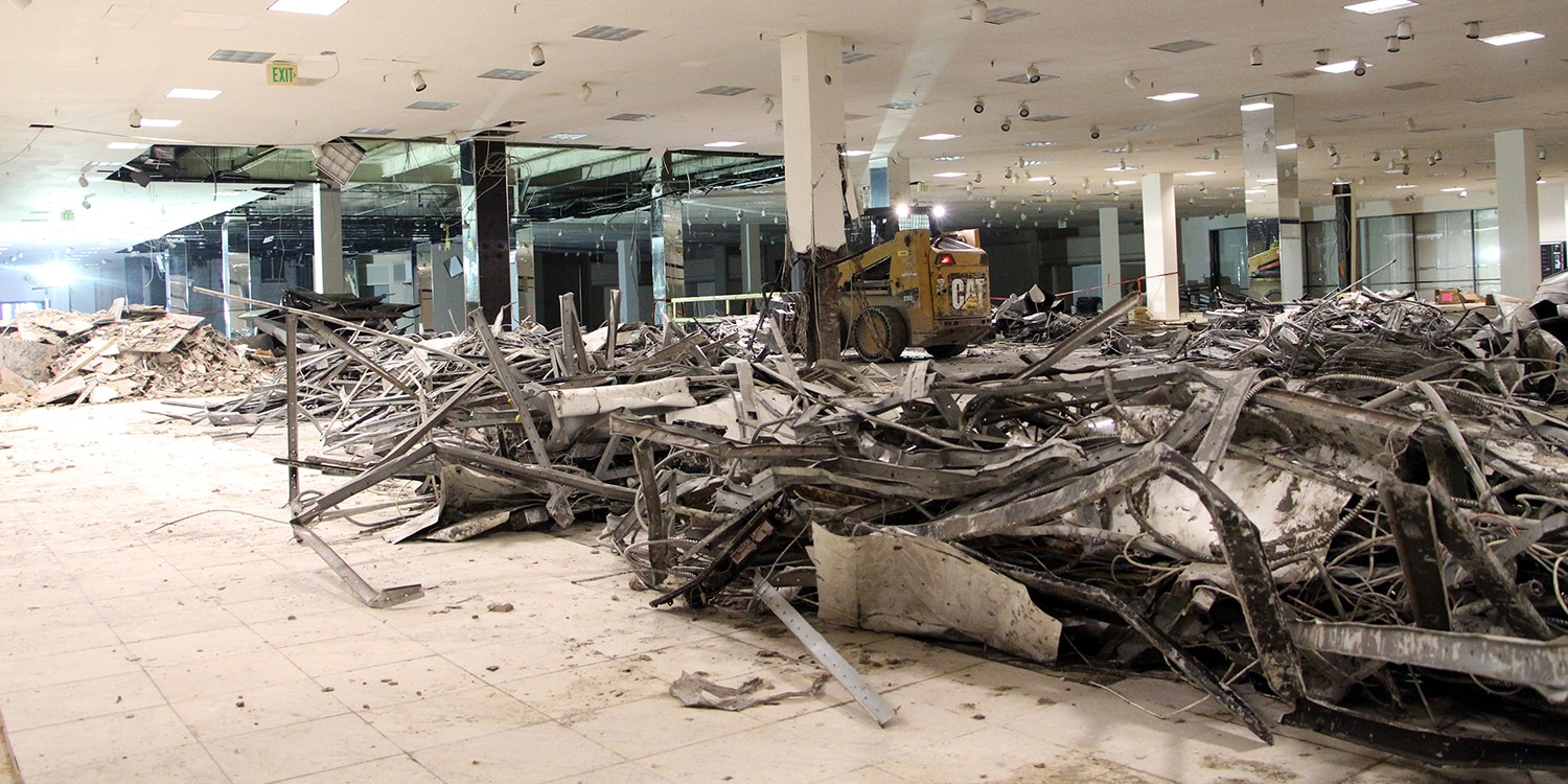 Demolition underway at former Macy's store in preparation for new aquatics center