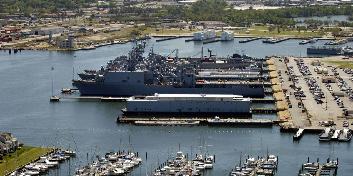 Ruptured pipe at Virginia Navy base spills sewage in harbor