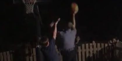 Police join in high schoolers' basketball game, win