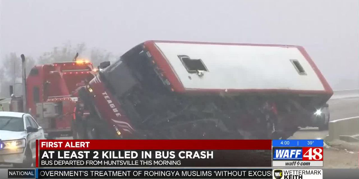 Bus traveling from Huntsville crashes in Mississippi; 2 dead