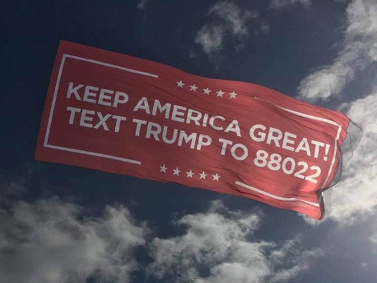 Trump re-election banners flying over Virginia Beach July 4th weekend