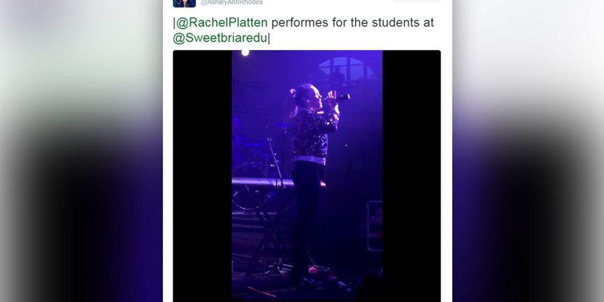 Singer Rachel Platten performs at Sweet Briar College
