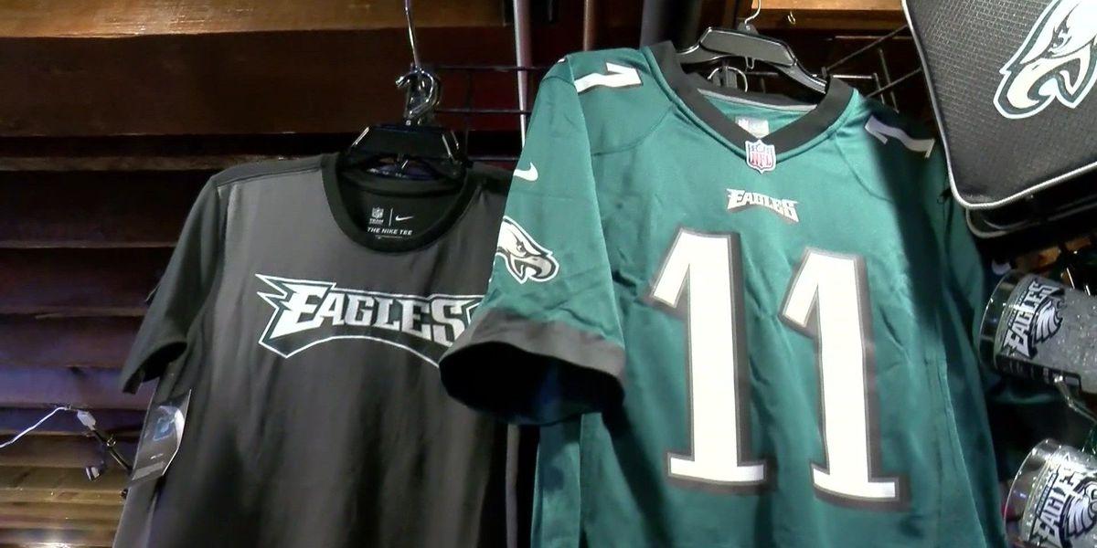 Eagles, Patriots merchandise flying off shelves days before Super Bowl