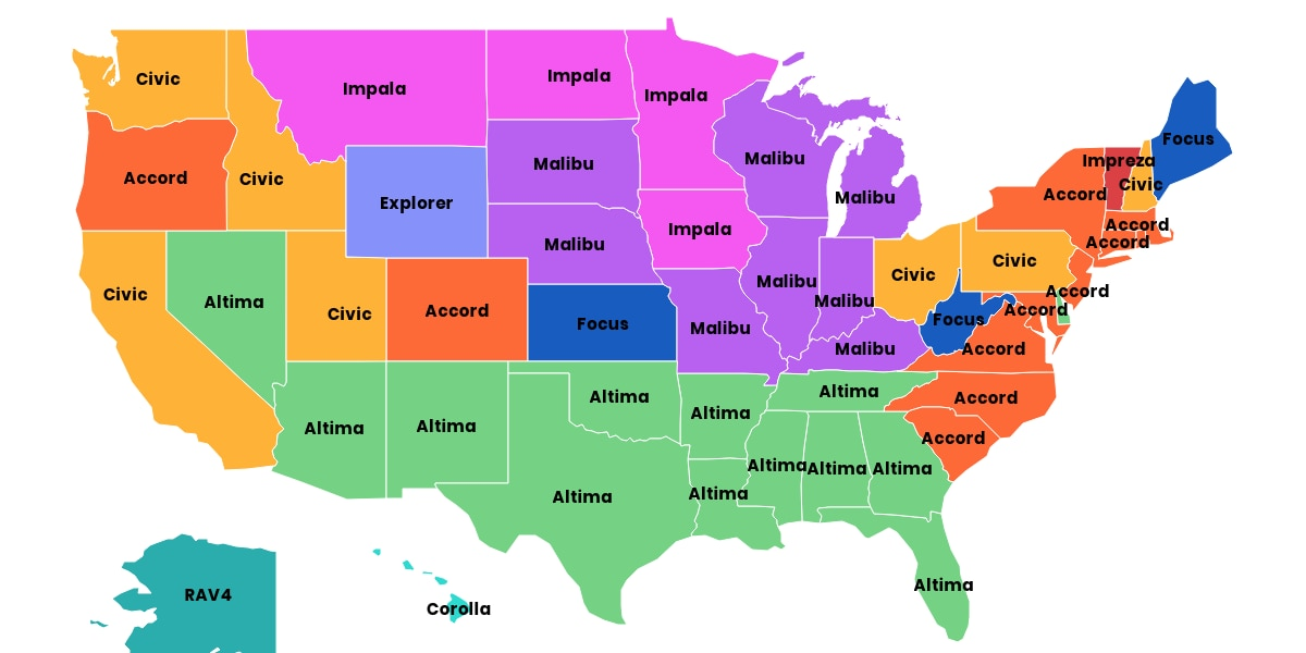 Most popular cars in America this year, by state
