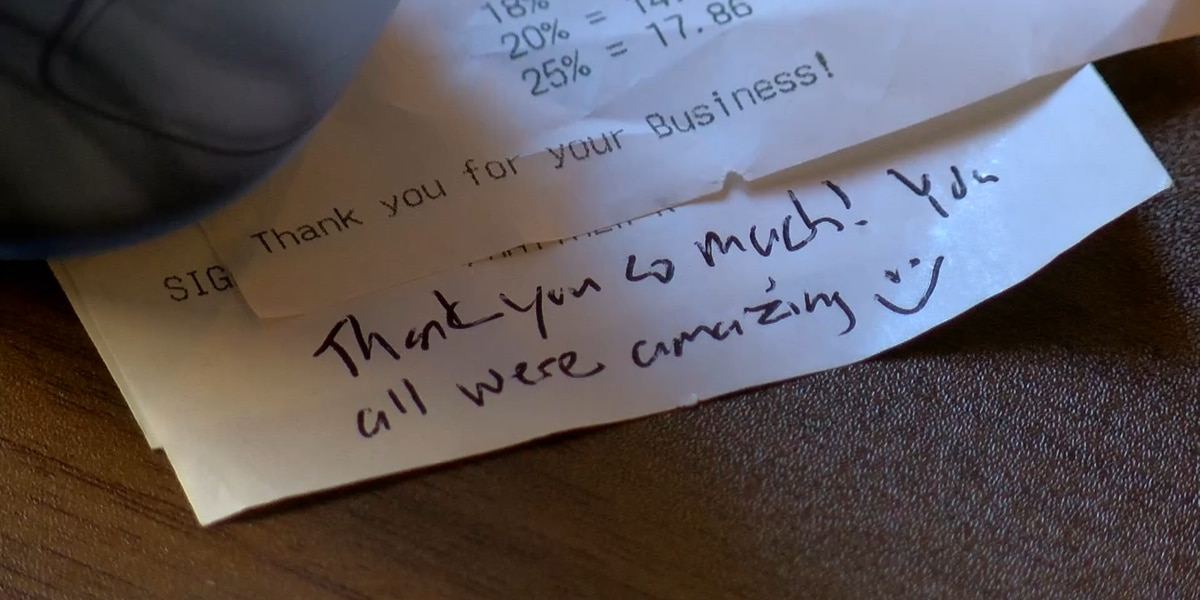 Diner leaves $1,000 tip at Shockoe Slip restaurant