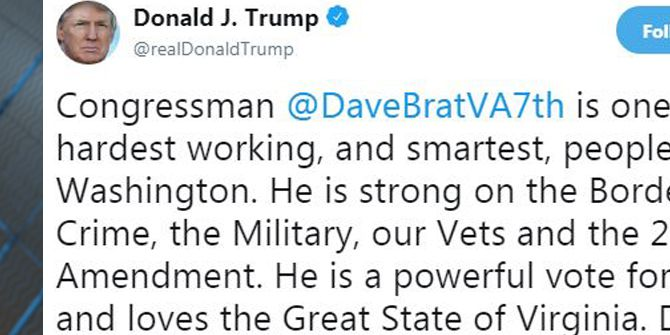 Trump endorses Dave Brat in Virginia's 7th District race