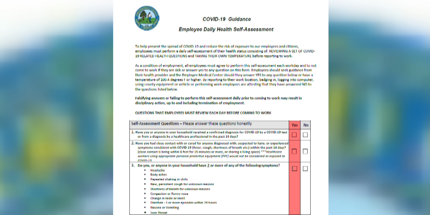 Quarantine rules adjusted for Chesterfield County employees