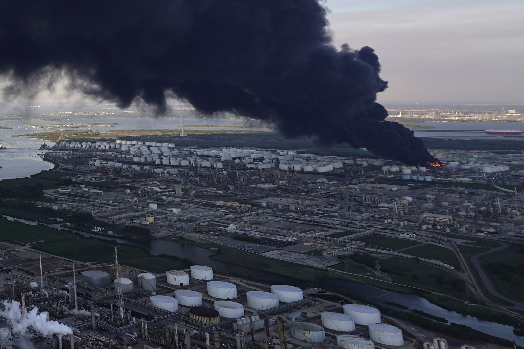Officials: Air is safe near Houston-area petrochemical fire