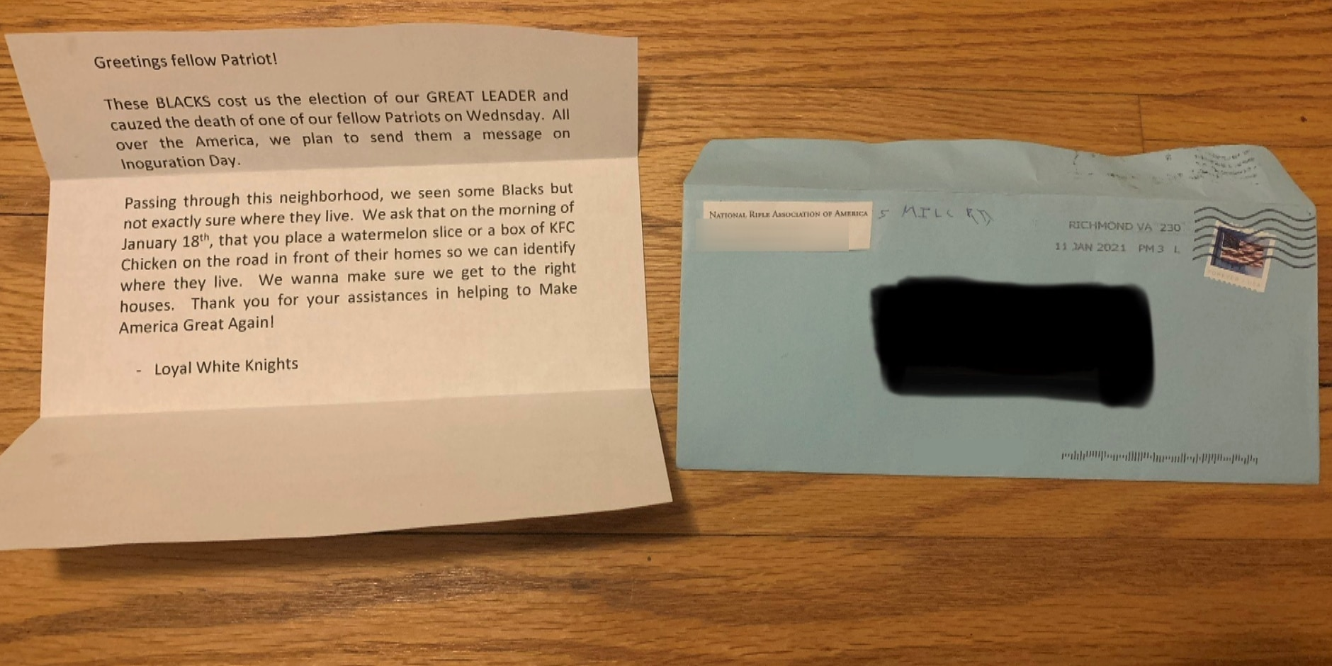 Henrico police seek information after resident receives racist letter in mail