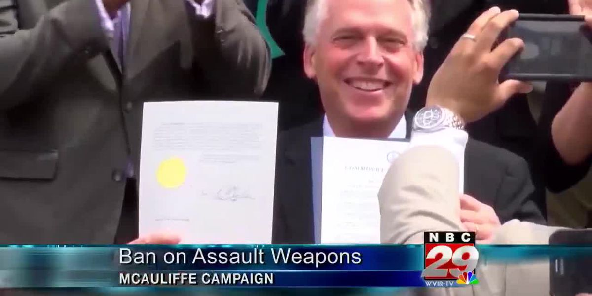 Gubernatorial candidate McAuliffe calls for General Assembly to ban sale of assault weapons