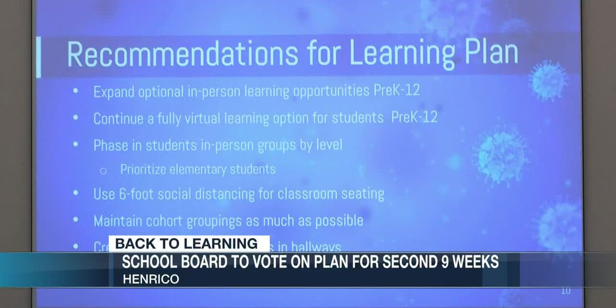 Henrico School Board to vote on plan for second 9 weeks