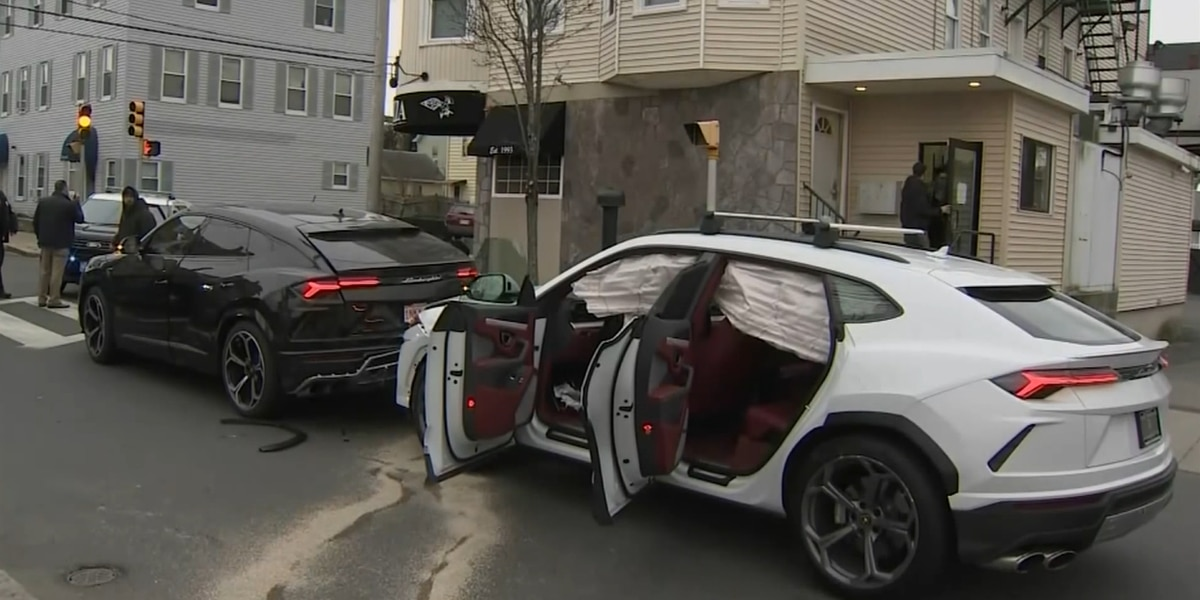 Police: Stolen Lamborghini SUVs found after crash in Mass.