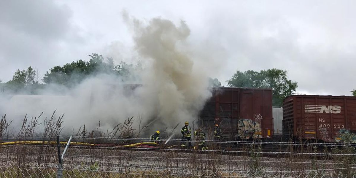 Rail car full of cardboard catches on fire in Hopewell