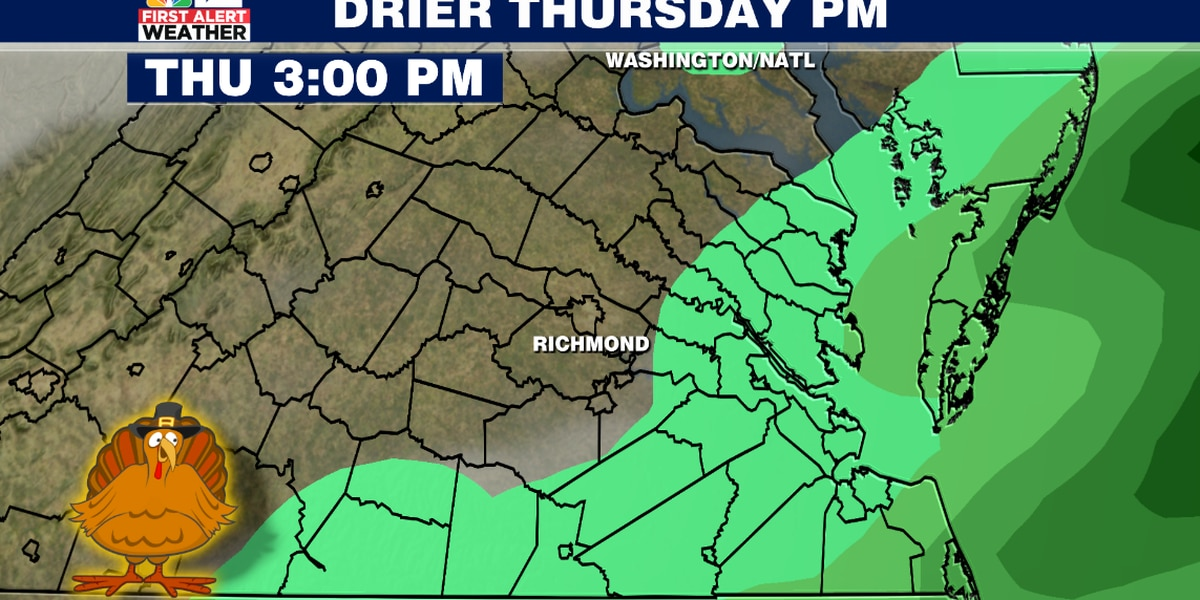 Thanksgiving starts wet, turns drier late in the day