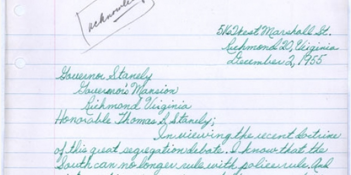 On this day: Letter sent to Virginia governor about segregation found at library