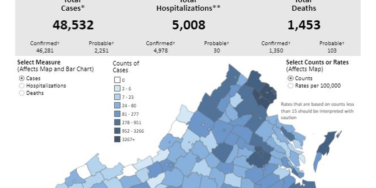 COVID-19 cases surpass 48,000 in Virginia with more than 5,000 hospitalizations