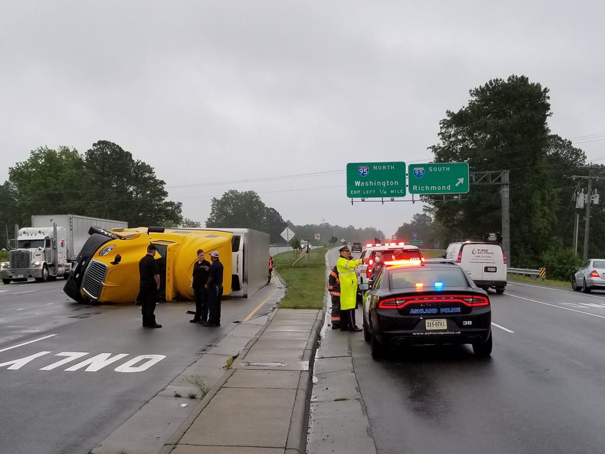 Tractor-trailer overturns, slows traffic in Hanover County