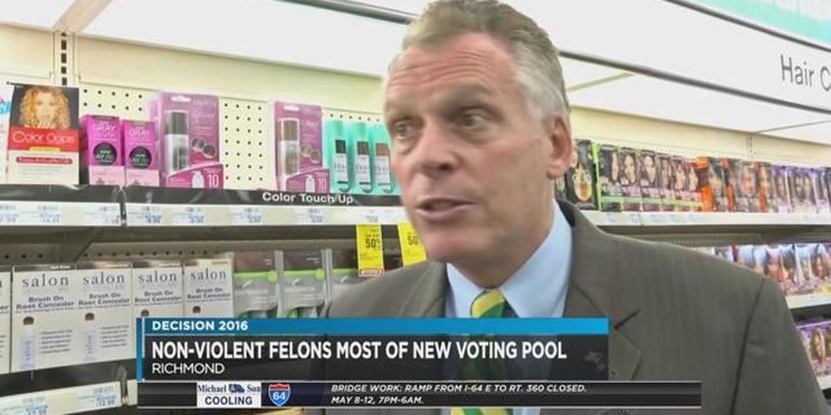 McAuliffe: Most former felons with new voting rights are non-violent