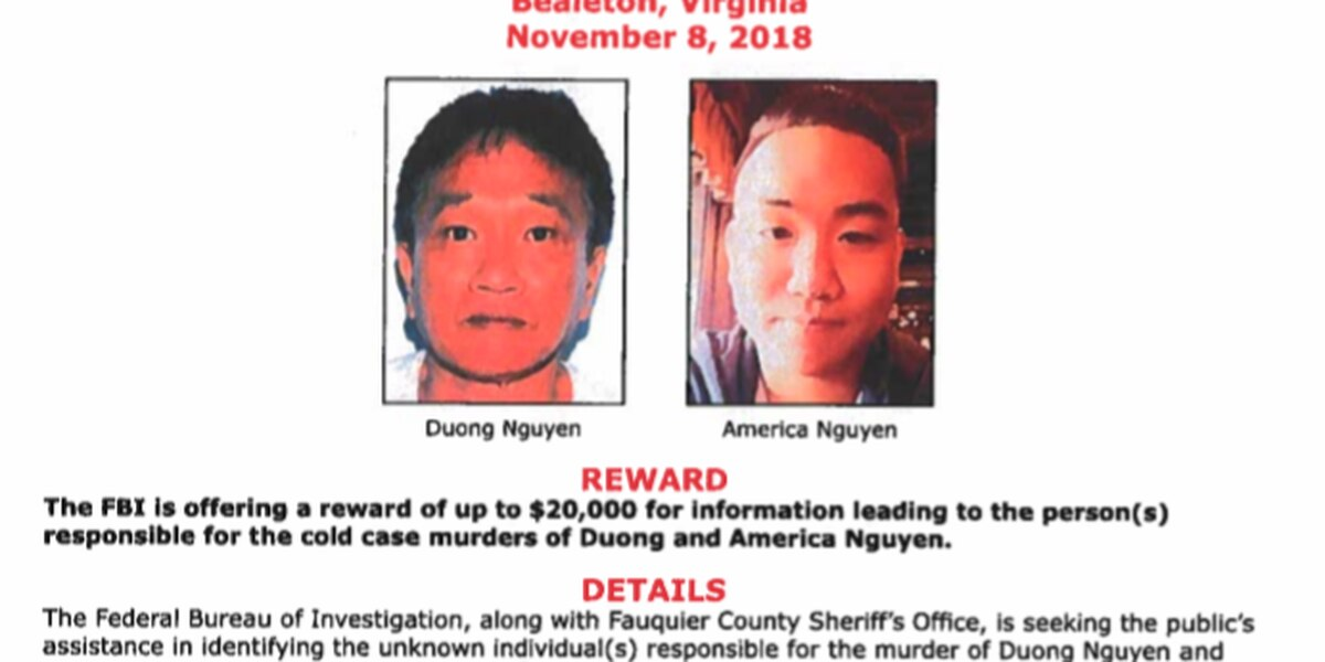 FBI offers reward in Fauquier County double-murder