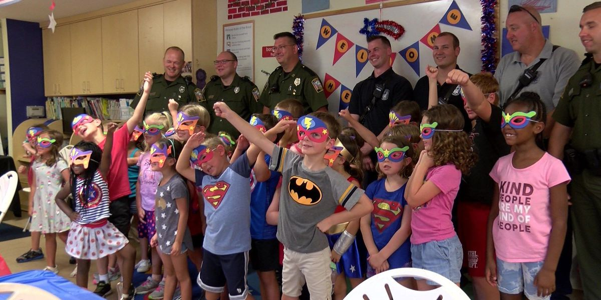 Elementary students dress up as superheroes, thank first responders