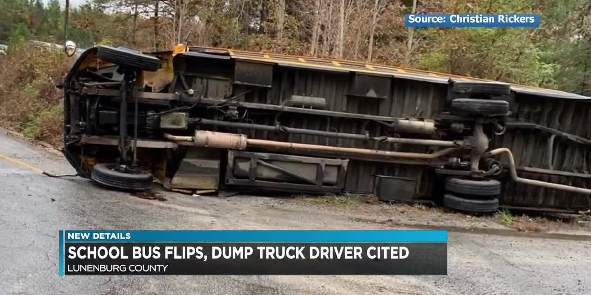School bus overturns after colliding with dump truck; 6 children injured