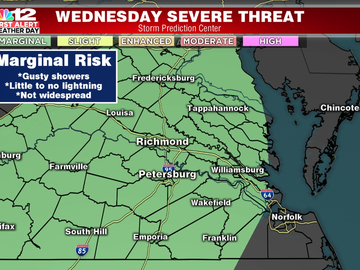 First Alert Weather Day: Low end threat for strong wind gusts Wednesday evening; Dense morning fog