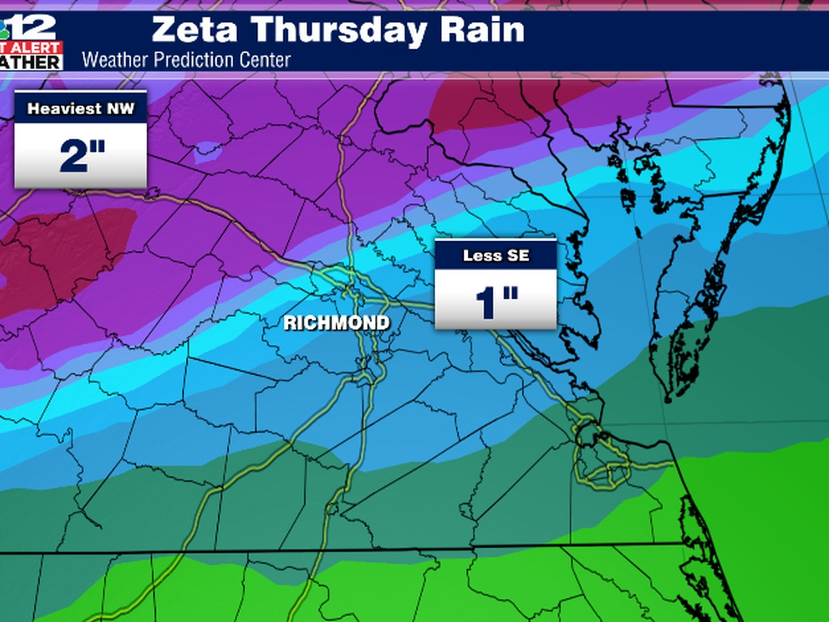 First Alert Weather Day: Zeta to bring heavy rain, wind to Virginia on Thursday