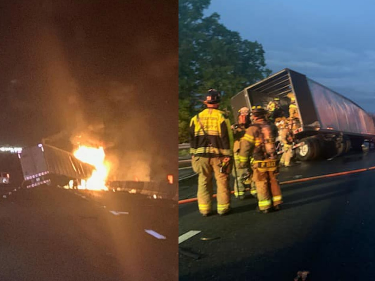 Tractor-trailer crashes, catches fire on I-95 in Stafford