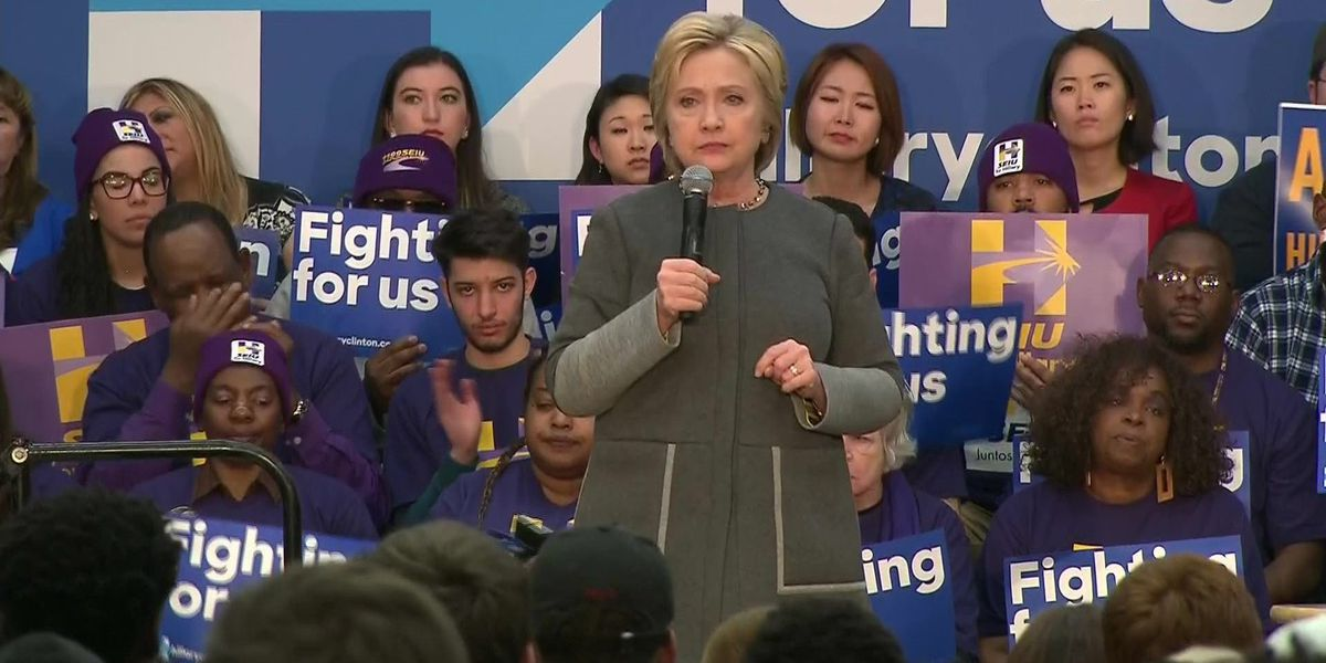 Hillary Clinton campaigns across Virginia hours before Super Tuesday