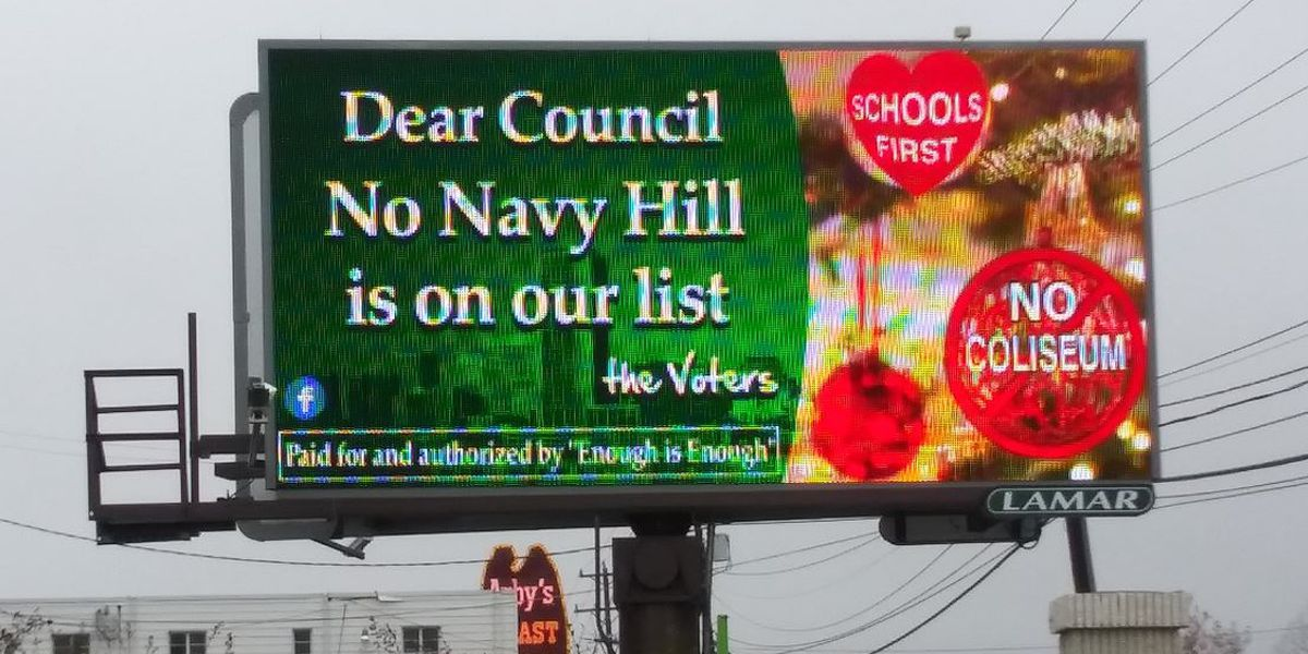 'Dear Council, No Navy Hill is on our list': Billboards opposed to proposed Navy Hill project light up in Richmond