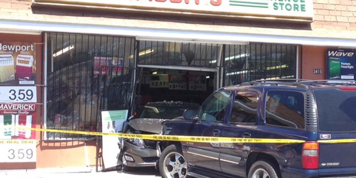 Chain reaction crash sends car into Hull Street convenience store