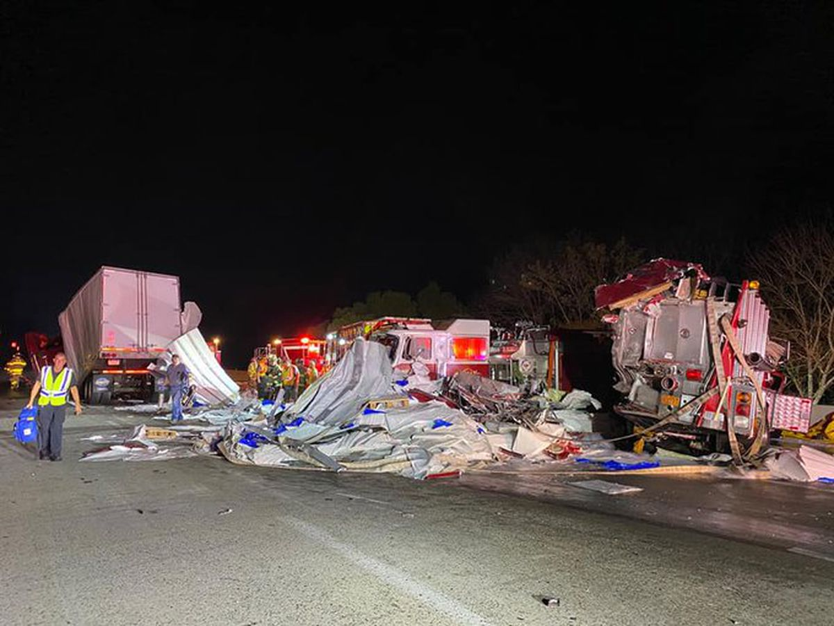 Troopers: Tractor-trailer strikes fire trucks along I-85 in Rowan County, shuts down southbound lanes